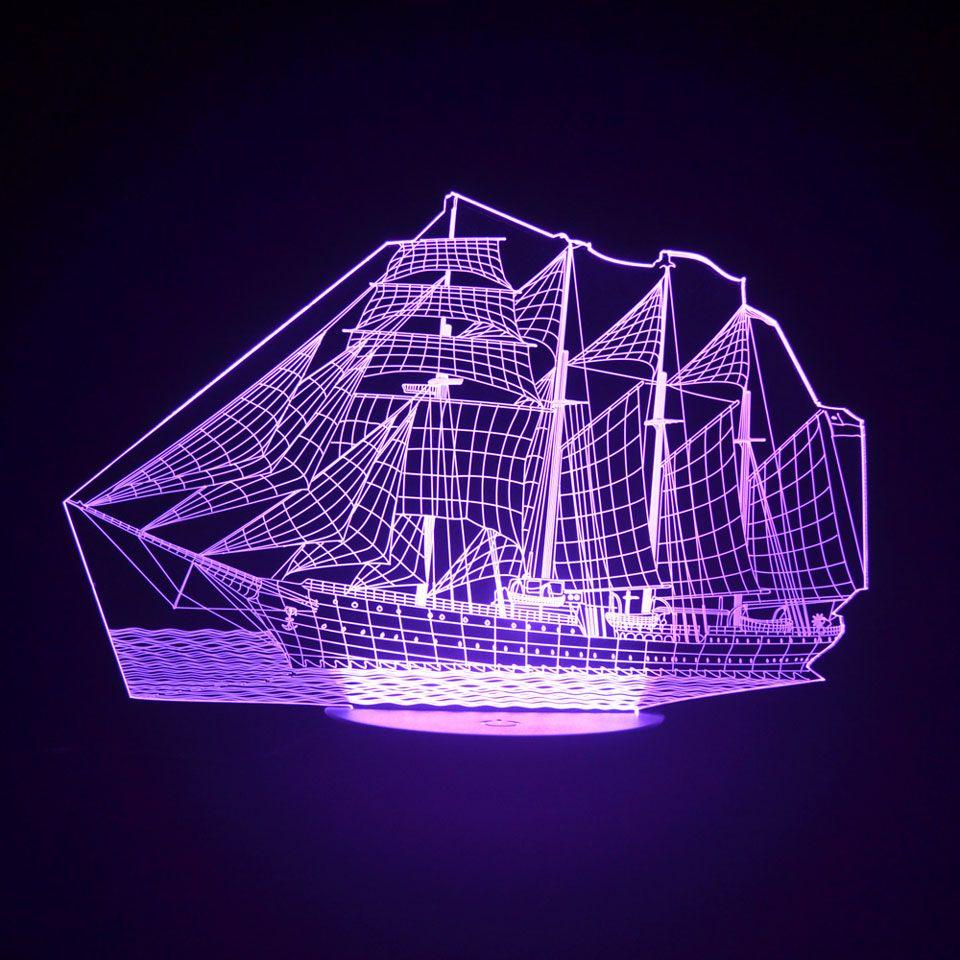 Nueva actualización 3D Sailing Sea Boat ship Gift Home Cafe Decoración Night Light USB Led Table Desk Remote Change Illusion Lamp Child Kids