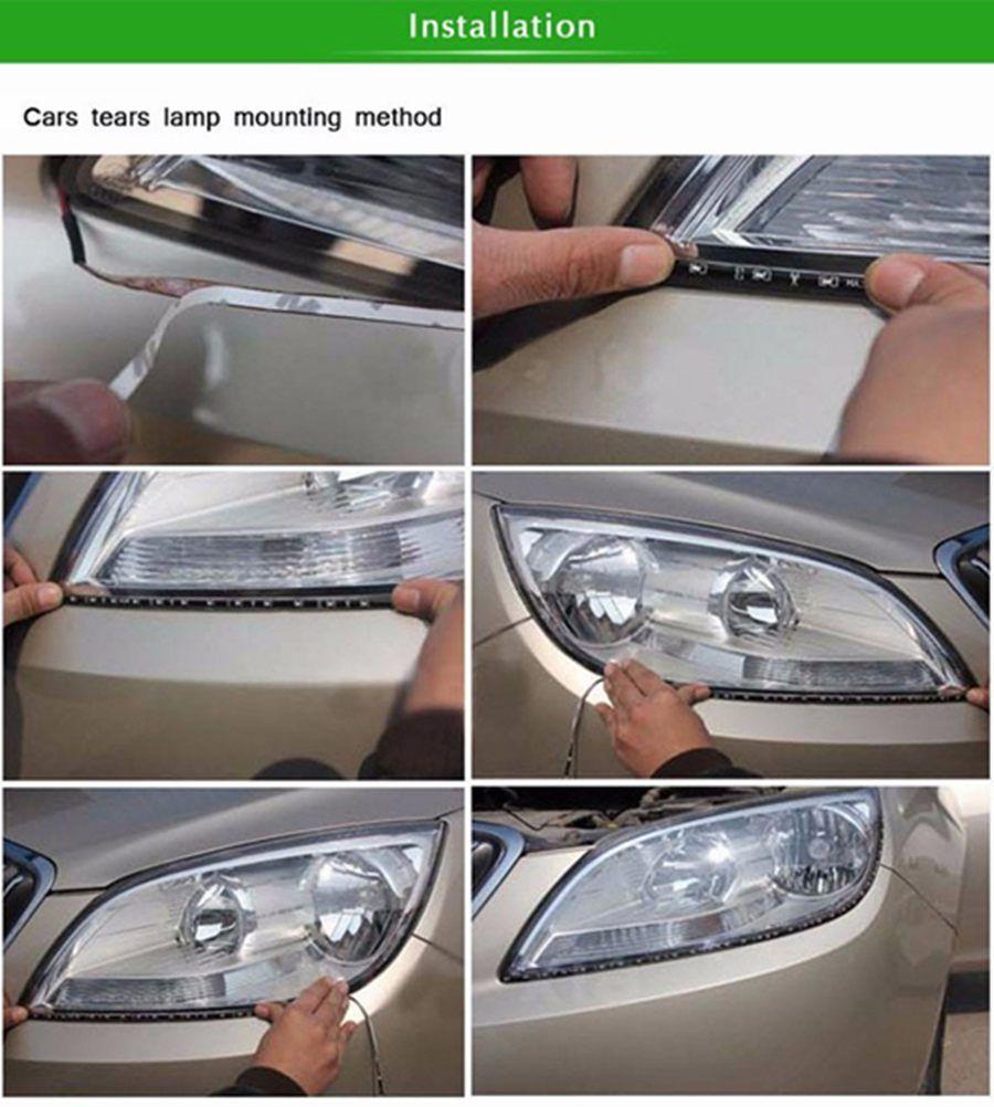 Striscia LED decorativa auto flessibile flessibile LED auto impermeabile 12V 30cm 15SMD luce diurna LED DRL striscia di marcia diurna