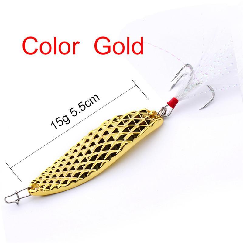 Sıcak Atificial Metal Kaşık Balıkçılık Yemler 5g 10g 15g 20g Gümüş / Altın Spinnerbaits VIB Bıçaklar cazibesi Spinner yem