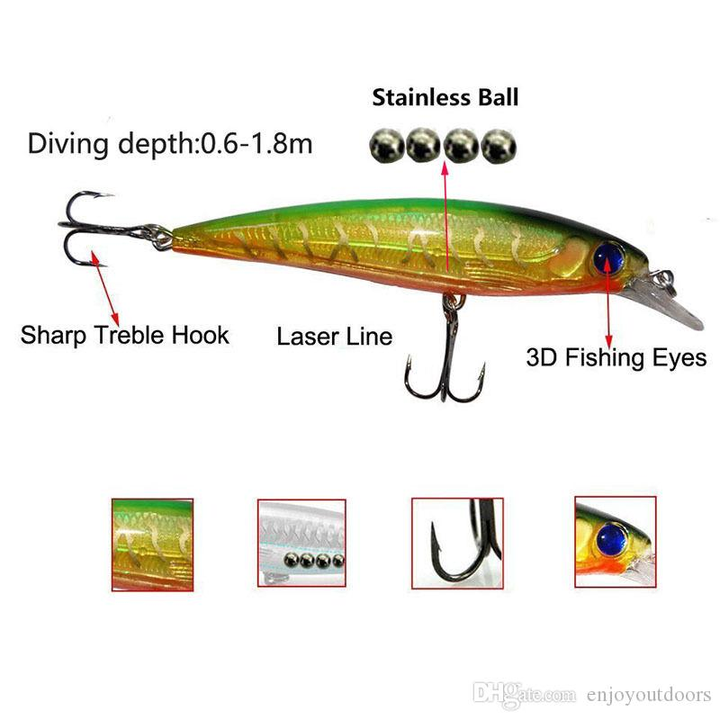 10cm Plastic Hard Fishing Lures Saltwater Fishing Laser Minnow Floating Artificial Fishing Wobblers Lures FishHook