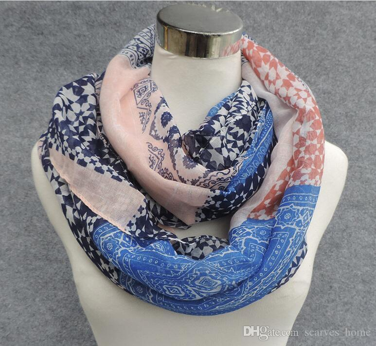 New Design Retro Flower Print Voile Cotton Infinity Scarf Fashion Circle Scarf Large Size Long Scaves Women Dot Print around Scarfs