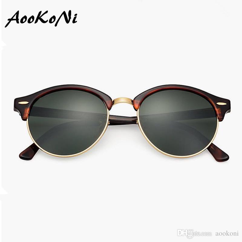 5924c8d0e58 AOOKONI AK4246 New Style Brand Retro Round Sunglasses Mens Womens High  Quality Club Sunglasses Black Frame Green Glass Polarized Lens 51mm Cheap  Designer ...