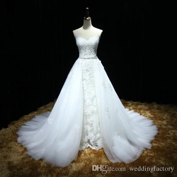 Elegantes Brautkleid mit abnehmbarem Schleppe-Überrock Liebsten Ärmellos Perlen Spitze Applikationen Kristalle Gürtel Schnürkorsett Brautkleid