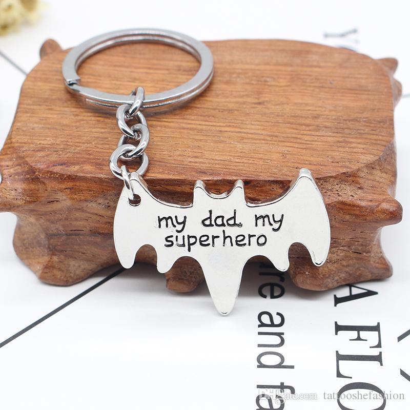 Newest Fashion Trendy The Avengers Batman Superman High Quality Alloy Pendant Keychain Letting My Dad My Super Hero Key Rings