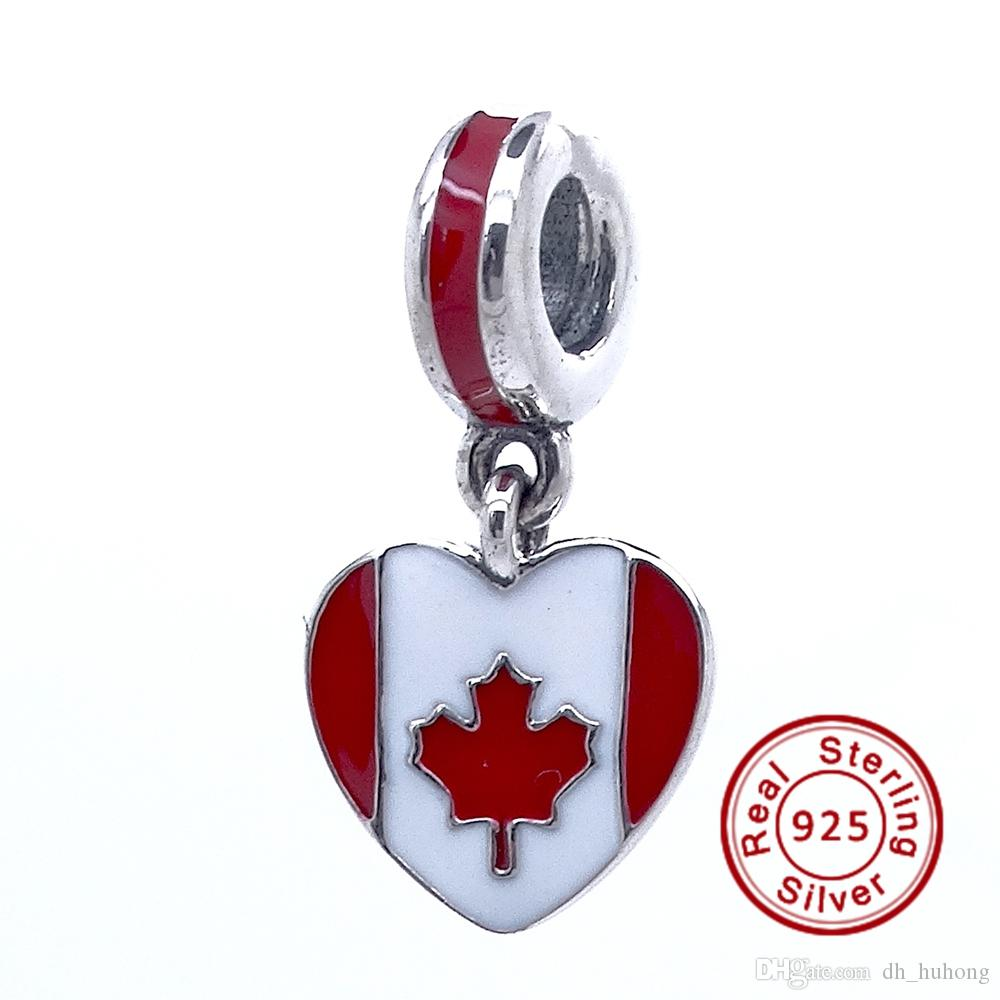 ad6dc0859 2016 Canada Heart Flag 100% 925 Sterling Silver Bead Fit Pandora ...