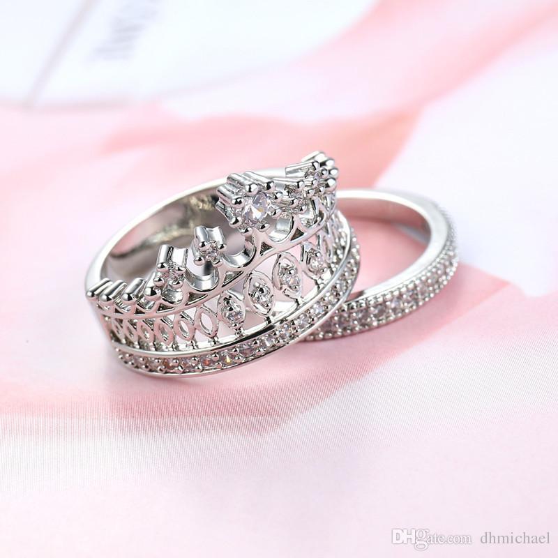 Sz6-10 Корона Diamonique ясно CZ белое золото заполненные свадьба обручальное кольцо наборы