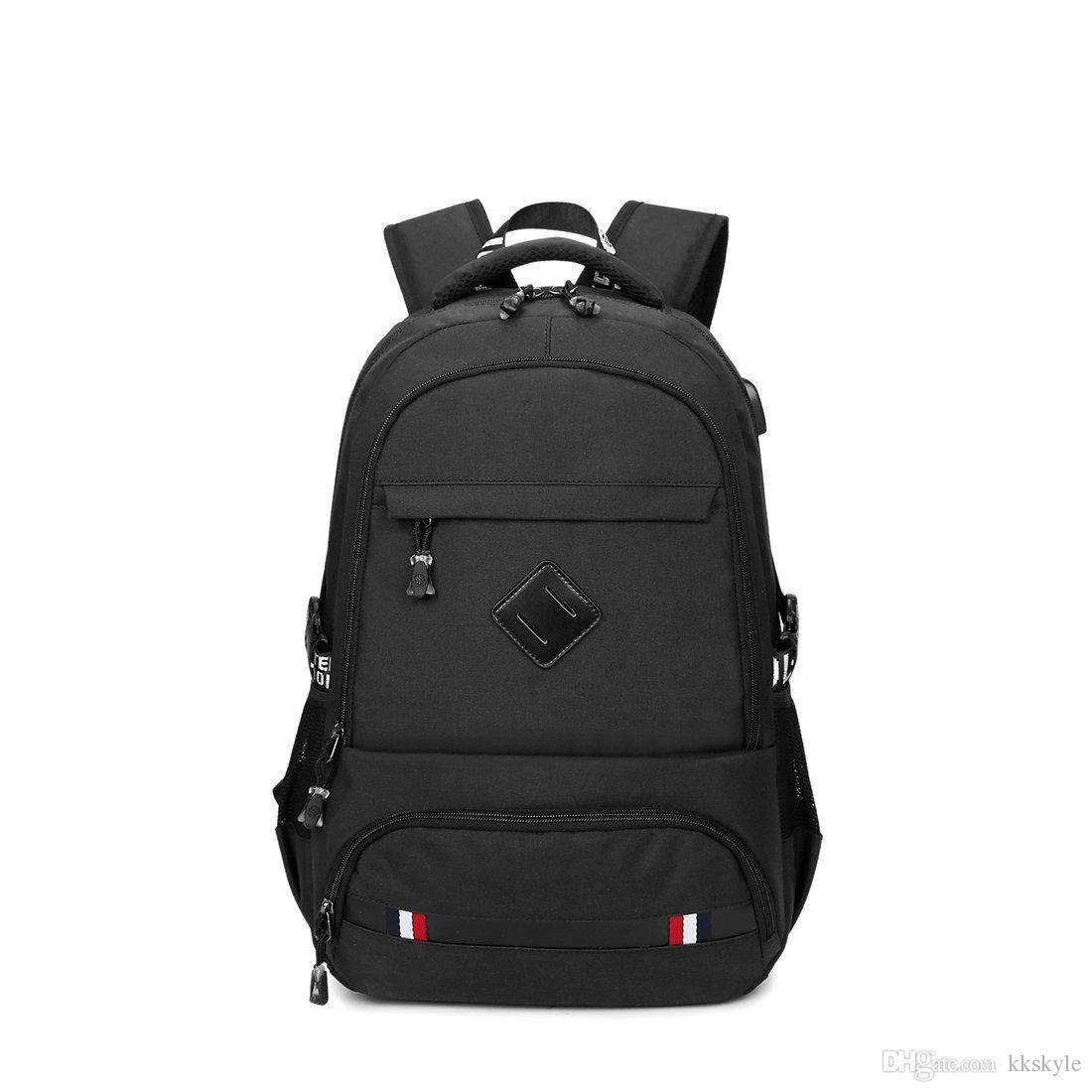 Business Water Resistant Polyester Laptop Backpack,Casual Schoolbag for Men with USB Charging Port for 15.6 inch Laptop & Notebook