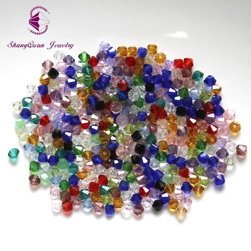 Bicone Perles Cristal / 4mm Perles de Cristal Lâche Tchèque / Perles De Verre à Facettes pour DIY Bijoux Boucles D'oreilles Bracelets