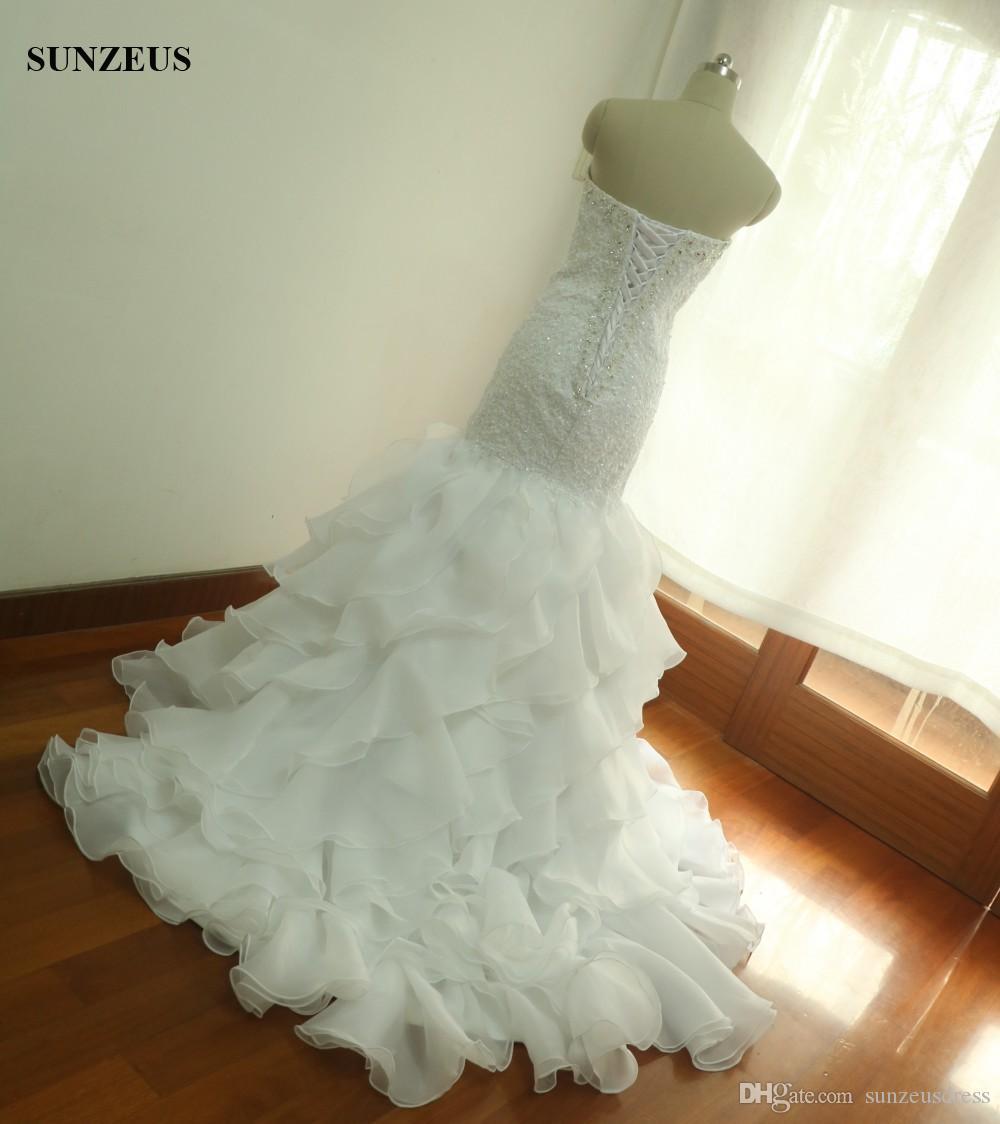 Real Photo Robes De Mariée Sirène Perles Cherie Applique Robes De Mariée Avec Organza Volants Jupe fotos reais vestido de noiva