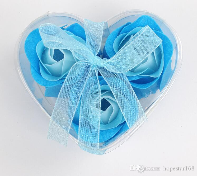 Heart-Shaped Rose Soap Flower for Romantic Bath Soap and Gift =one Box Bath Soap Valentines Gift High Quality Mix Colors