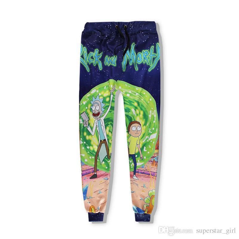 Rick y Morty patrón de impresión Joggers Chándal para hombres y mujeres 2017 de la moda caliente pantalones unisex + top camisas sport outfit