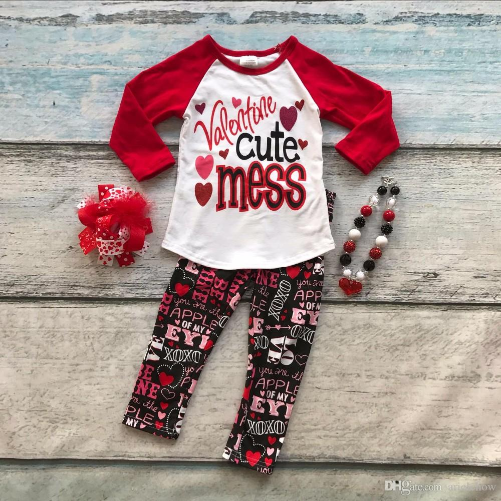 Cotton Valentineu0027s Day Boutique Baby Girls Outfits Kids Clothing Love Aztec  Suit Heart Cute Mess Top Red Matching Accessories