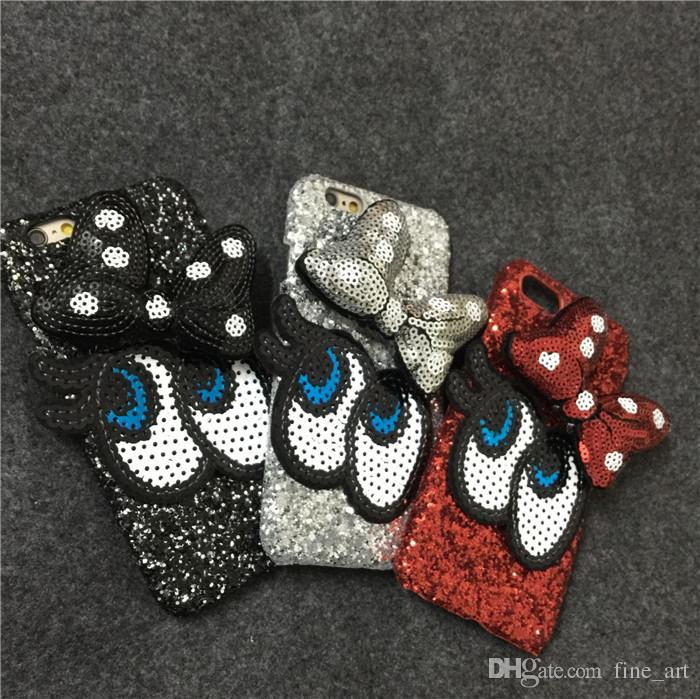 Fashion Big BowKnot Cartoon Paillette Cell Phone Case Protective Big Eyes Cell Phone Back Cover Glitter Powder Case for Iphone6 6plus I7