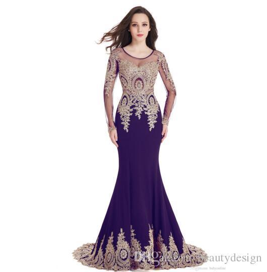 En barato de manga larga de la cucharada Sheer escote sirena del cordón del oro de Borgoña Apliques de noche de baile vestidos de Robe de soirée Longue del vestido del partido