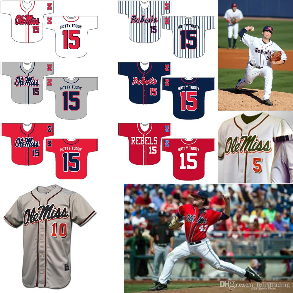 pretty nice 2f95b 4ad43 Custom Olemiss 10# 5# (custom you name number color and size) #15 Hotty  Toddy Men All Stitched Baseball Jerseys Free Shipping