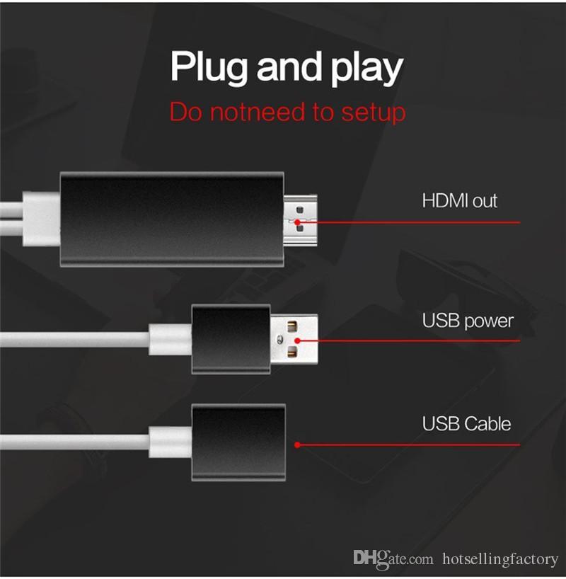Aluminium MHL HDMI Câble Plug and Play 2 M 3 en 1 HD 1080 P AirPlay Miroir HDTV Adaptateur pour iPhone 7/7 Plus 6/6 plus Samsung S7 / S6