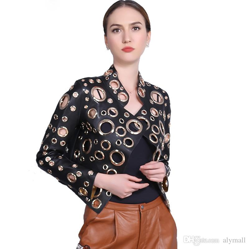 05f4dd13604 Women Jacket 2017 New PU Leather Punk Metal Circle Rivets Hollow Out Holes  Motorcycles Coat Streetwear Outwear Coat Clothing Leather Jacket Mens  Quilted ...