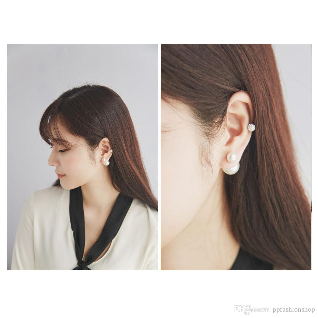 S925 Silver Ear Stud,High-Quality Pearl Earrings Jewelry, Large Silver Jewelry Supply, Ladies Double Pearl Temperament Size Pearl