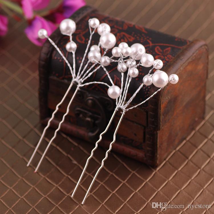Nouvelle épingles à cheveux de mariée clips accessoires pour mariage nuptiale chaude demoiselle d'honneur perles blanches et rouges pièce de cheveux épingle peigne clip accessoire