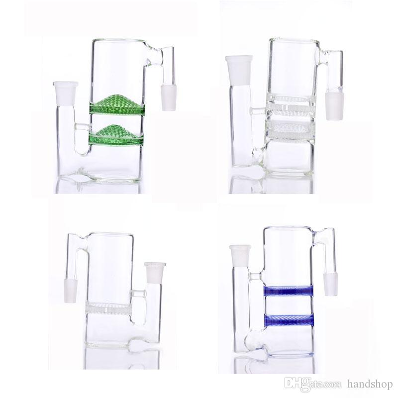 2017 new Ash Catcher two Honeycomb perc bong ashcather 18.8-18.8mm different color and whirlpool glass water pipe ash catcher free shiping
