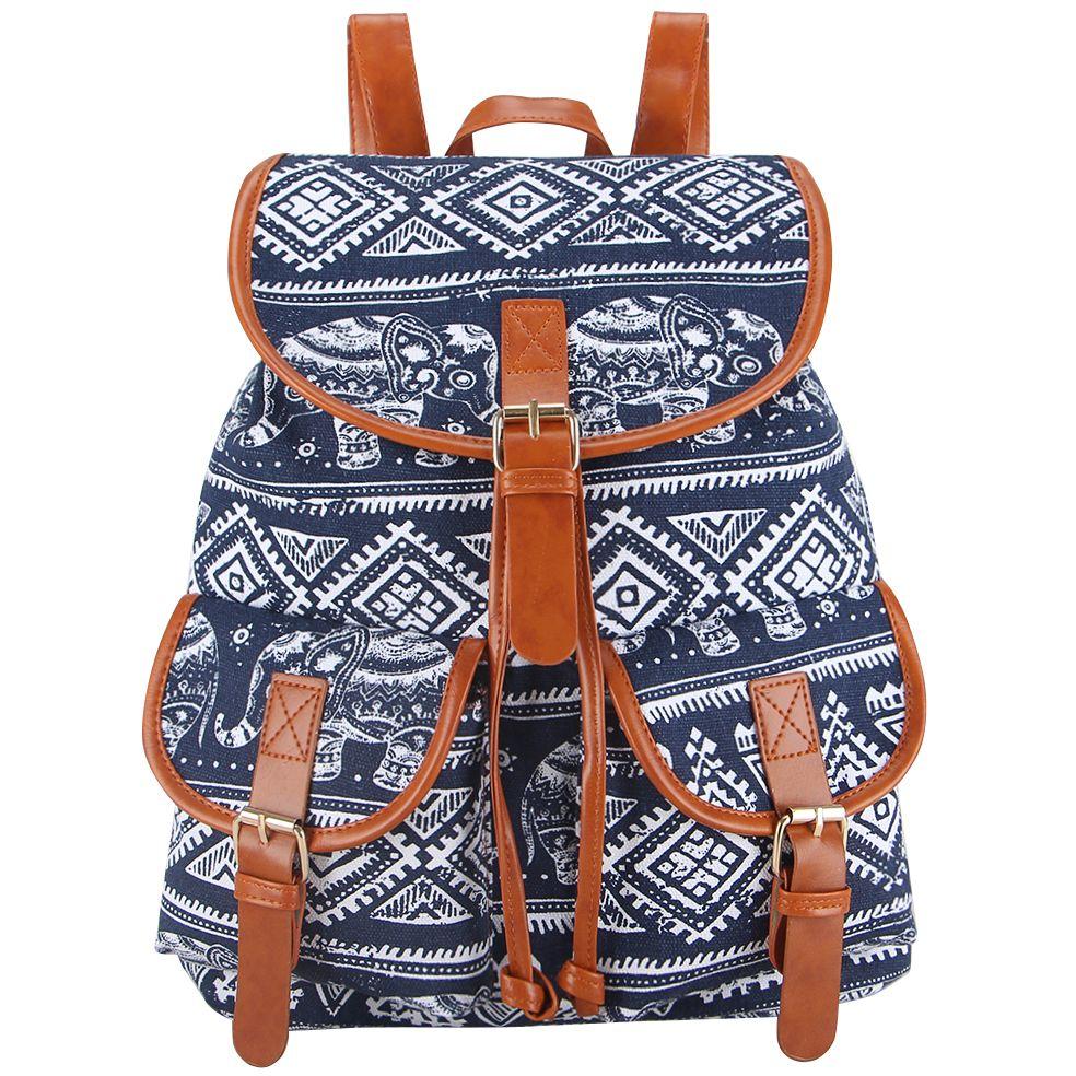 ec44626c3cf Wholesale Sansarya New 2017 School Bag Bohemian Vintage Women Backpack  Drawstring Printing Canvas Bagpack Sac A Dos Femme Rucksack Female Backpacks  For ...