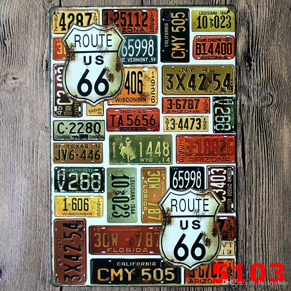 U.S. Historic Old Route 66 Poster Wall Decor Bar Home Vintage Craft Gift Art 12x8in Iron painting Tin PosterMixed Designs