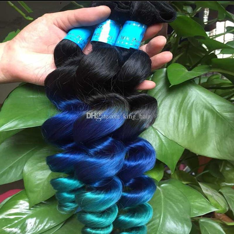 عذراء 9a # 1b أزرق أخضر الشعر البشري لحمة الظلام الجذر فضفاض موجة الشعر التمديد أومبير اللون 1b أزرق أخضر الشعر 3 حزم