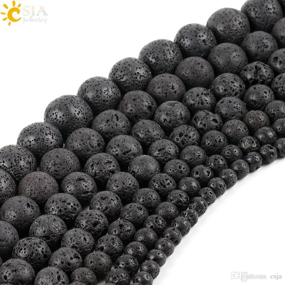 CSJA 6 mm Round Ball Matte Black Lava Rock Natural Stone Loose Beads Volcanics Jewelry Material Necklaces Bracelets for Men & Women E193 B
