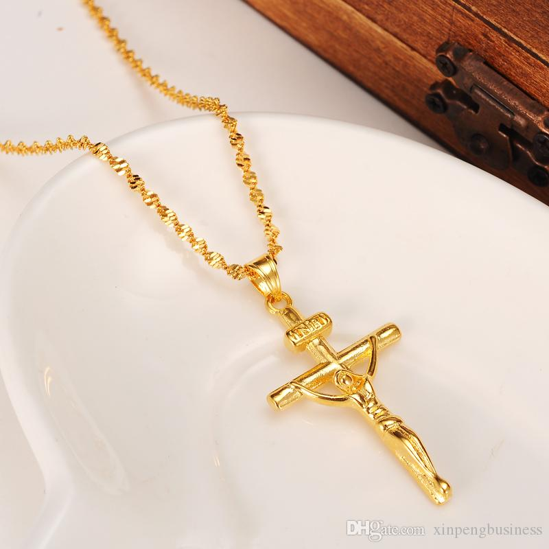 14K yellow Solid gold GF STAMP INRI Jesus Cross Pendant Necklace Loyal Women Charms Crosses Jewelry Christianity Crucifix Gifts