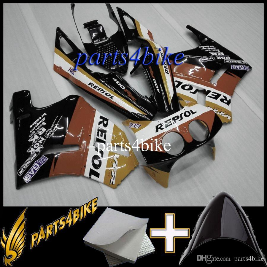 ABS Fairing for Honda VFR400R NC30 89 93 NC30 1989 1993 89 90 91 92 93 repsol black red Aftermarket Motorcycle Body Kit