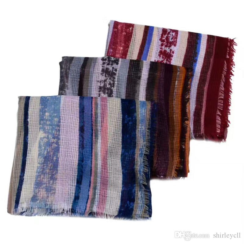 Wholesale fashionable linen striped women autumn scarf functional available big size