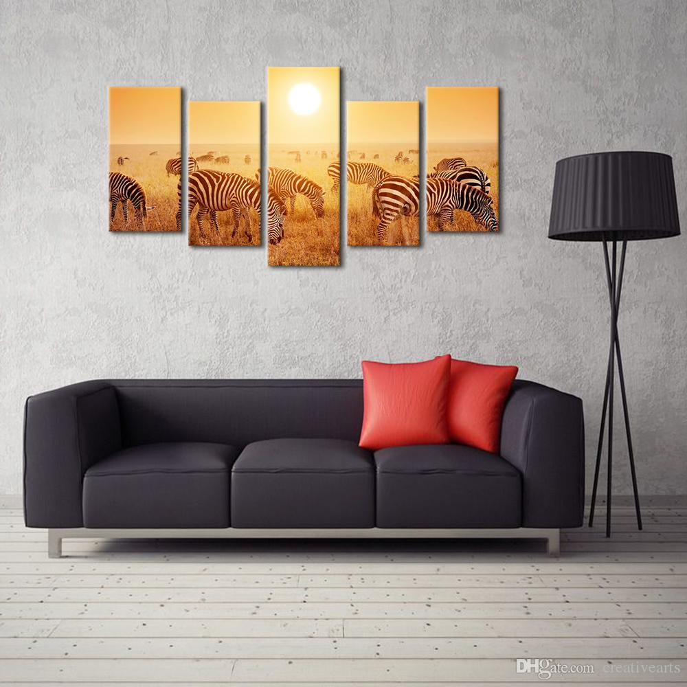 Nature Wildlife Canvas Art Print Home Wall Decoration Canvas Printing Group Printing of Zebra Gold Landscape Giclee Print