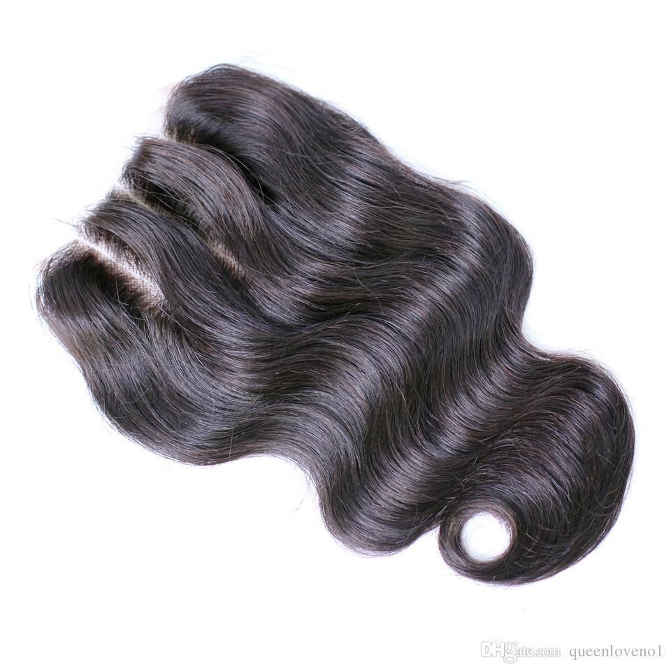 Peruviana Body Wave fasci di capelli con chiusura gratuita di Middle 3 Parte doppia trama estensioni dei capelli umani tingibili tessuto dei capelli