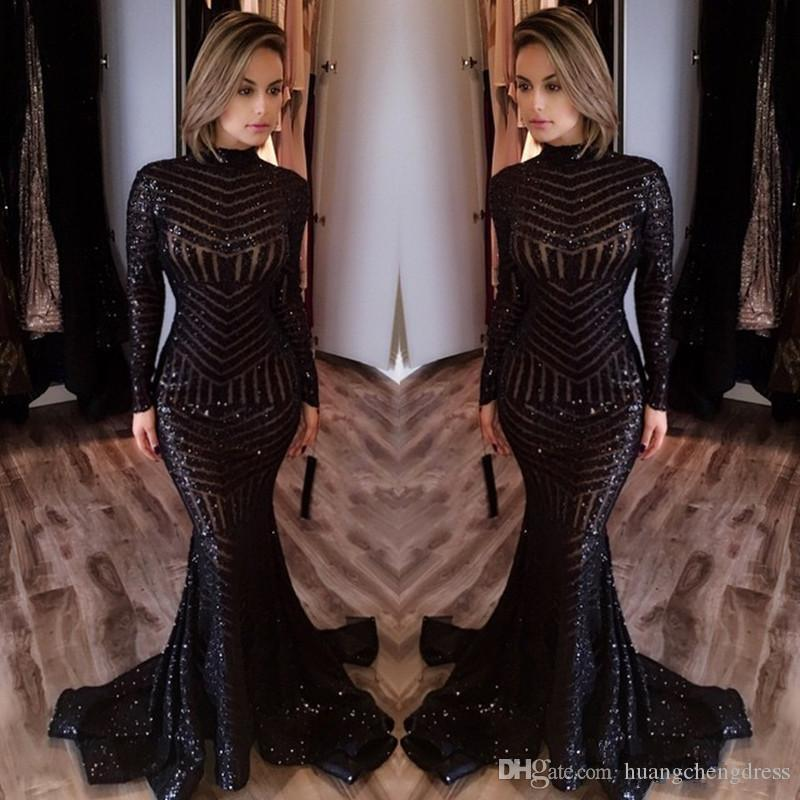 2019 Venda Quente Barato Longos Vestidos de Noite de Alta Pescoço Mangas Compridas Até O Chão Memraid Prom Party Vestidos Formais Vestidos de Noite Custom Made