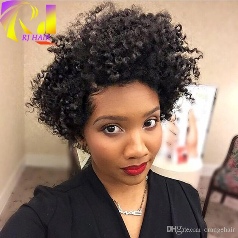 Afro Kinky Curly Short Full Lace Wigs For Black Women With Natural Hairline Glueless Lace Front Wig Malaysian Virgin Human Hair In Stock