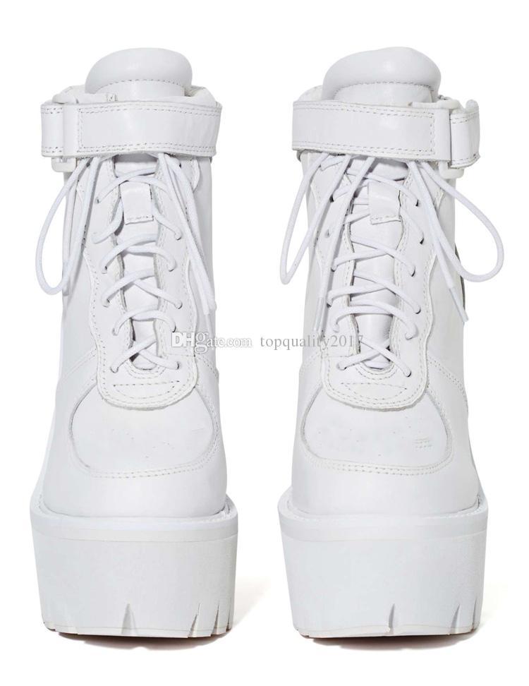 Jefrey Campbell Pole Vault Plateforme Bottes Blanc En Cuir Véritable À Talons Hauts Chunky Talon À Lacets Femmes Bottines À Talons Chaussures
