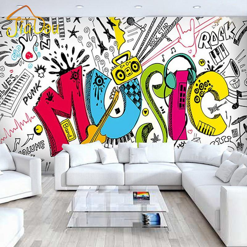Wholesale Custom 3d Abstract Musical Children S Room Graffiti Large Mural  Cafe Restaurant Bar Bedroom Streets Rock Non Woven Wallpaper High  Definition. Wholesale Custom 3d Abstract Musical Children S Room Graffiti