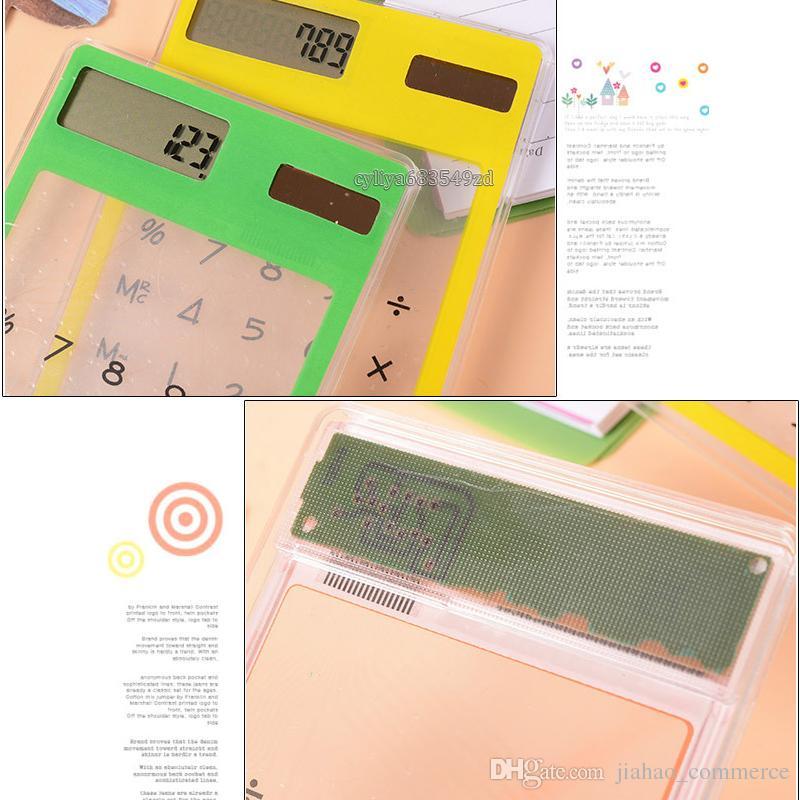 Kreative Geschenke Mini-Taschenrechner Ultra Slim Solar Power Touchscreen LCD 8-stellige Kreditkarte Elektronischer transparenter Taschenrechner
