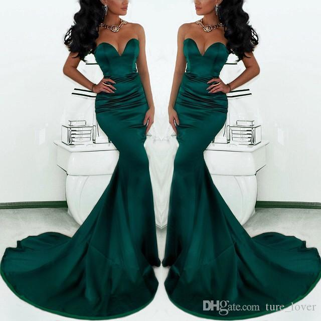 Gorgeous Sweetheart Long Emerald Green Mermaid Evening Gowns 2017 Satin Fishtail Special Occasion Prom Dresses For Women
