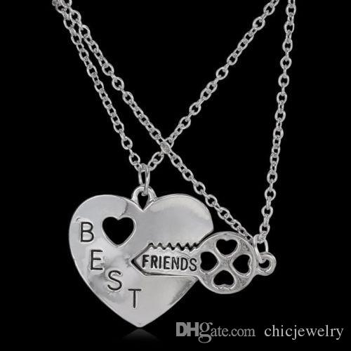 Best Friends Friendship Heart Key Silver Necklace Pendant Couple BFF Alloy Necklace  Jewelry Pendant Necklaces Fashion Womens Chain Jewelry Pendant Necklaces ... 2b5a7235fffa