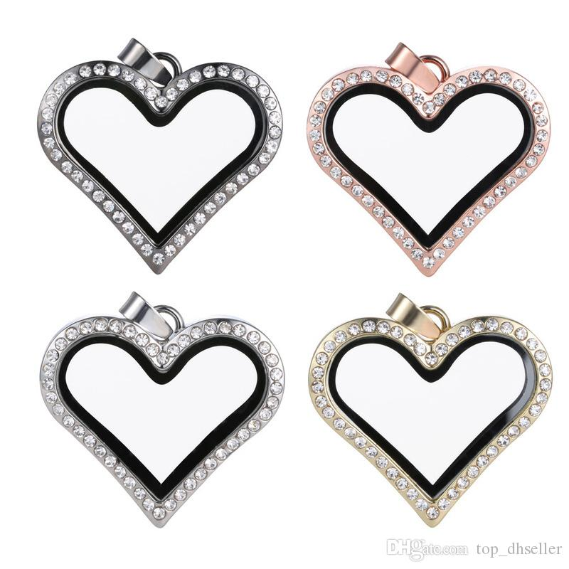 Necklace selling foreign trade jewelry necklace can open the glass phase box pendant heart shaped alloy pendant S137