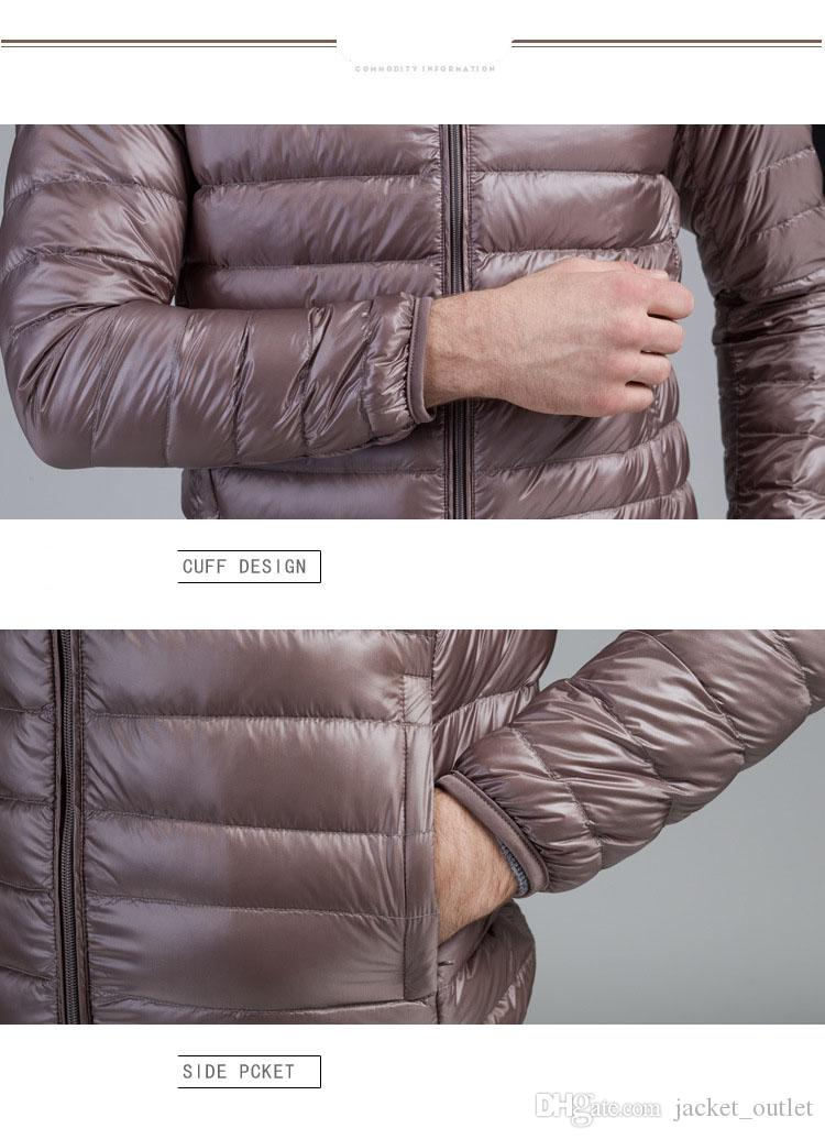 Jaquetas de inverno Para Baixo Homens Clássicos Jaqueta de Luz Gola Fina Quente Zíperes Casaco Parkas Outwear Casacos Online de Alta Qualidade