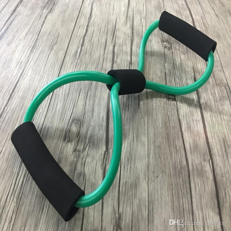 Desarrollador de cofre de 8 formas para las niñas Bandas de látex de resistencia Bucle Fitness Tubo de ejercicios de Pilates Ejercicio Equipo de acondicionamiento físico Expansor para niños