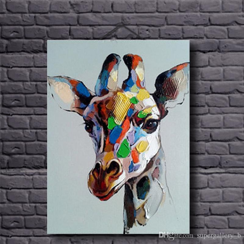 b967739158aad Framed Hand Painted Modern Abstract Animal Art oil painting Colorful  Giraffe,On High Quality Canvas Home Wall Decor size can be customized