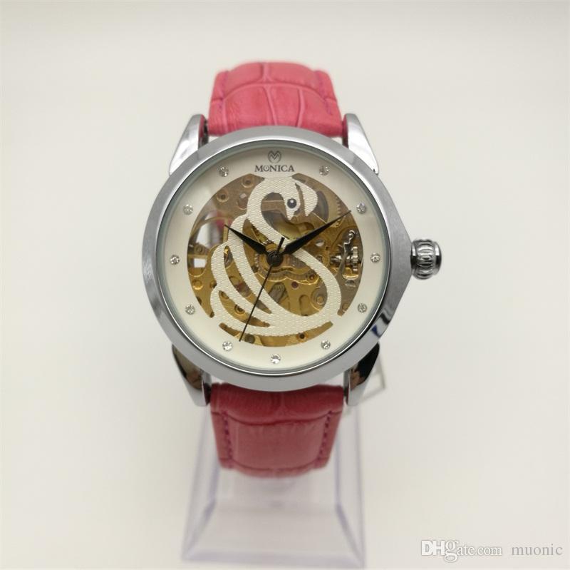 Автоматические механические часы новые женские кожаные полые часы Гуанчжоу модный бренд MUONIC роскошные горячие часы