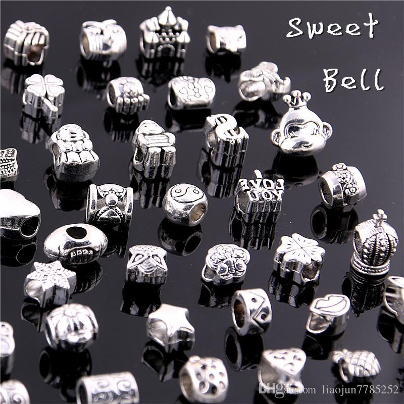 Dolce campana 50 pz / lotto 925 argento perline grande foro adatto argento antico in lega di zinco metallo misto perline fai da te fascino i braccialetti D0955