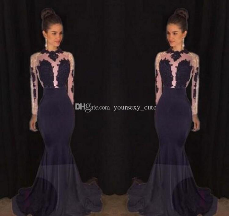 Long Sleeves Mermaid Prom Dresses Sheer Neck Beading Appliques Tulle Satin Backless Black Gold Evening Gowns Formal Party Dresses