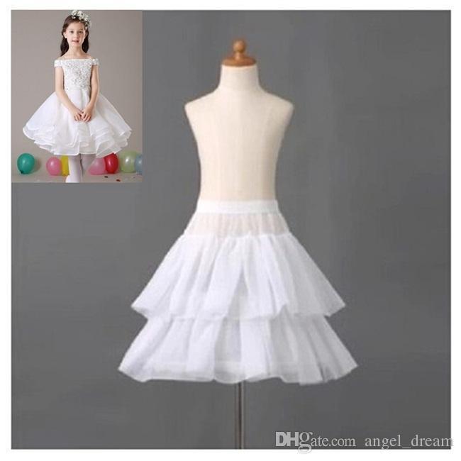 Brand New Mädchen Petticoats für Blumen-Mädchen-Kleid-formales Kleid 1 Hoop 2 Schichten weißen Krinoline Kinder Zubehör Princess Kinder Underskirt