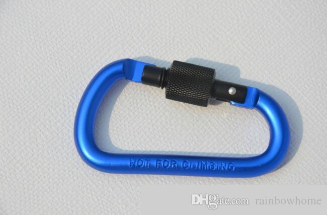 سميكة القطر 8CM ملون سبائك الألومنيوم D أنماط تسلق زر مع قفل حلقة تسلق سلسلة المفاتيح معلقة هوك التخييم الظهر
