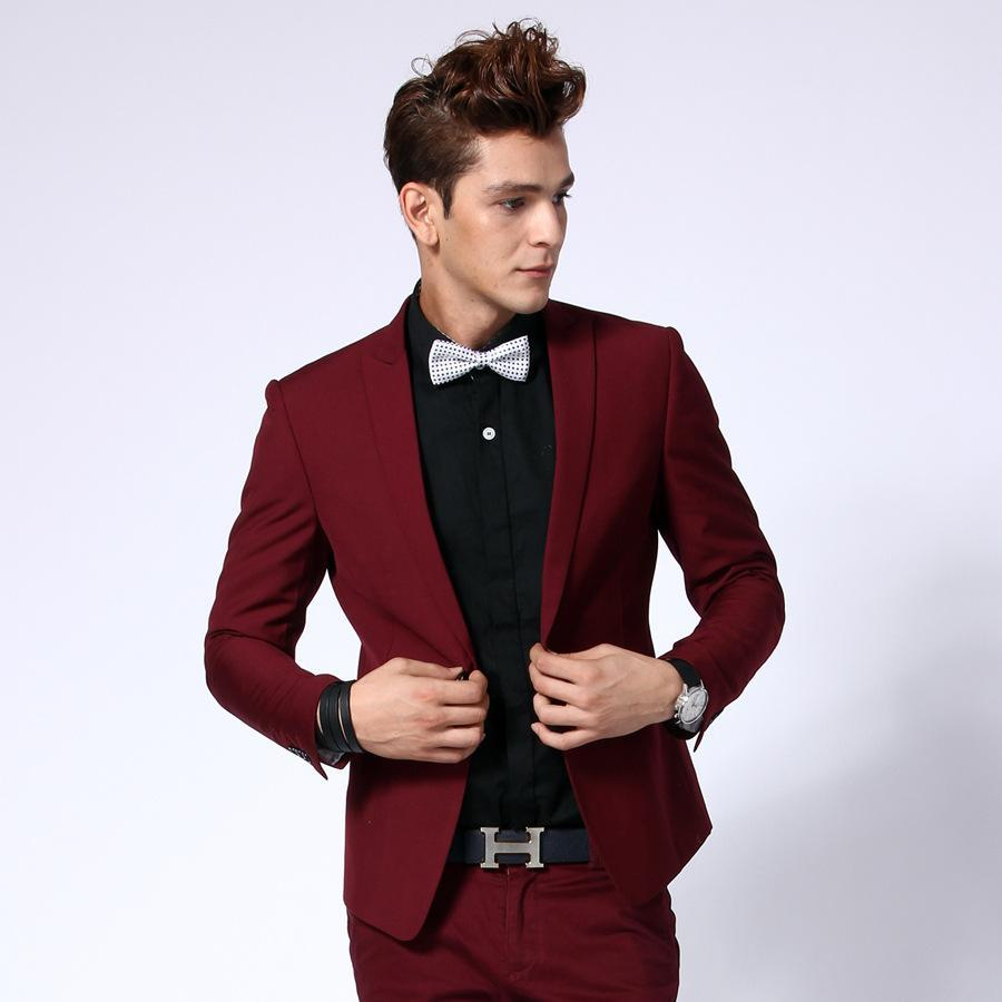 de0007653 Wholesale- Hot Sale One Button Dark Red Groom Tuxedos Groomsmen Men's  Wedding Prom Suits Bridegroom (Jacket+Pants+Bow Tie) K:1055